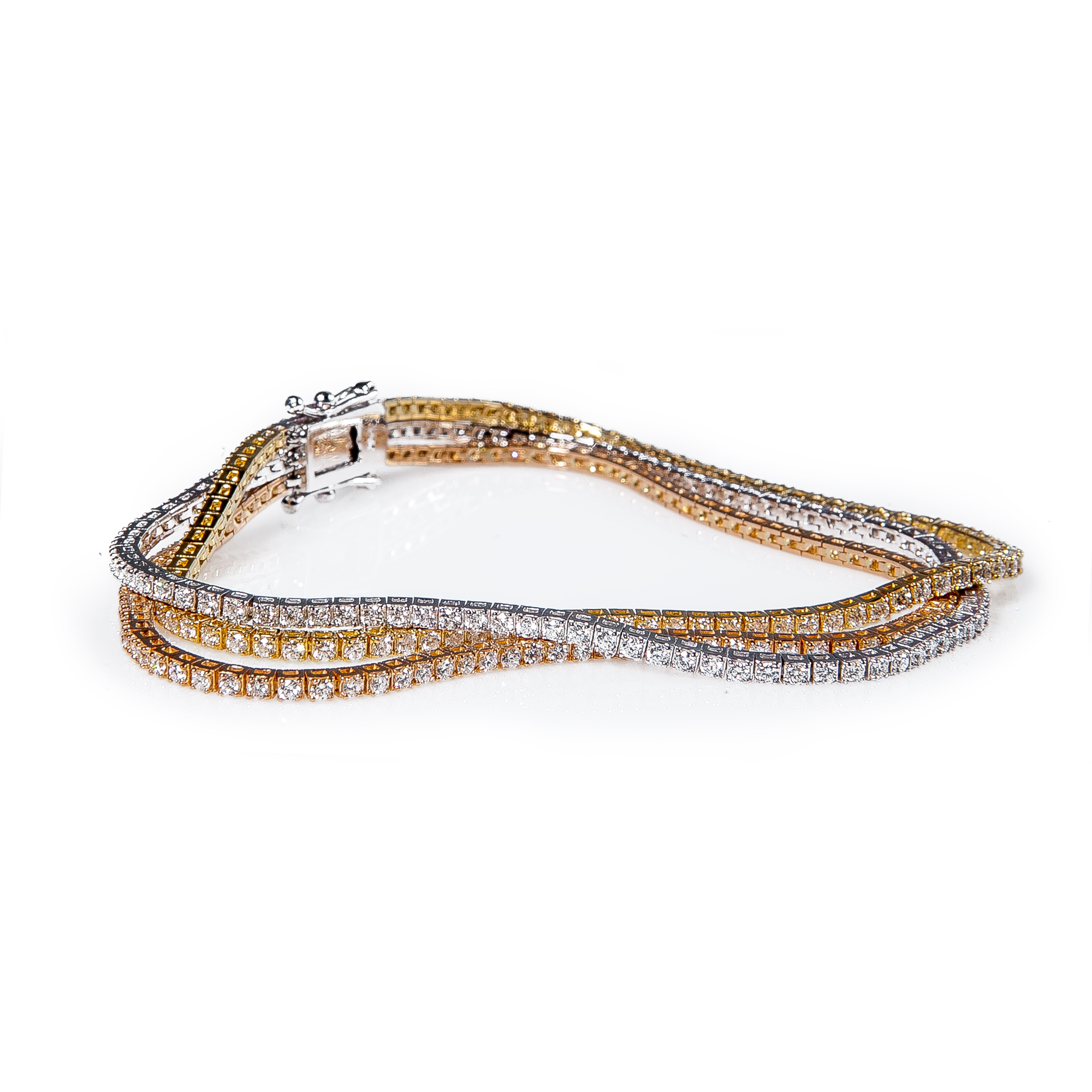 style tone bangles key two bracelet accent bangle diamond pave yellow tennis greek plated gold